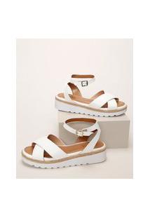 Sandália Feminina Malu Super Comfort Flatform Com Tiras Cruzadas E Corda Branca