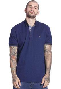 Camiseta Polo Diferenciada Vlcs Manga Curta Masculino - Masculino-Azul