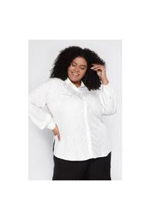 Camisa Almaria Plus Size Pianeta Viscose Jaquard Animal Print Off-White