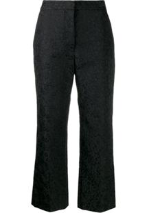 Stella Mccartney Calça Cropped De Jacquard Com Estampa Animal Print - Preto