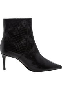 Bota Mid Heel Croco Verniz Black | Schutz