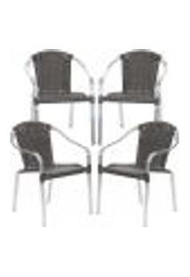 Cadeiras 4Un Para Area Varanda Fibra Sintetica Sala Cozinha Jardim Sacada Pinheiro - Tabaco