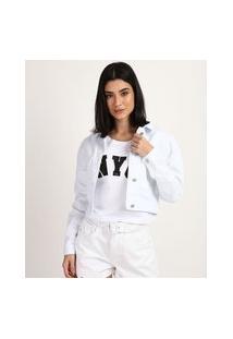 Jaqueta De Sarja Feminina Cropped Com Bolsos Manga Bufante Branca