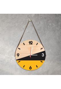 Relógio De Parede Decorativo Adnet Amarelo E Preto Com Números Em Relevo Médio