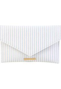 Carteira Clutch Loucos & Santos Envelope Listrada Feminina - Feminino-Branco+Azul Claro