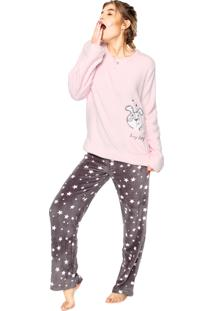 Pijama Any Any Soft Dog Rosa/Cinza