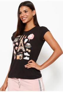 Camiseta Paris- Preta & Rosaclub Polo Collection