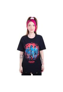 Camiseta Dupla Face Stranger Things Personagens Preto