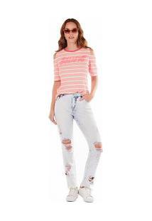Calça Zinco Skinny Regular Cós Intermediário Com Puídos Jeans