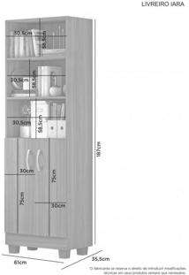 Estante Livreiro 2 Portas 4 Prateleiras Iara Jcm Móveis Branco