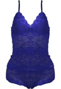 Shortdoll Femina Lingerie Short Curto Azul