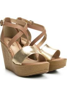 Sandália Plataforma Azaleia Tiras Cruzadas Feminina - Feminino-Caramelo+Dourado