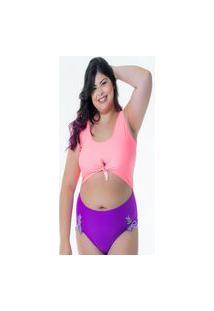Body Maiô Plus Size Isabela Fenda Candy Color