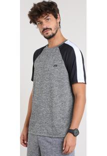 Camiseta Masculina Esportiva Ace Raglan Com Recorte Manga Curta Gola Careca Cinza Mescla Escuro