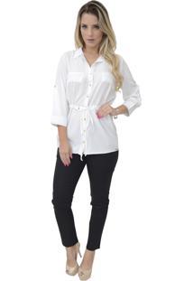 Camisa Mamorena Parka Com Pesponto Off White