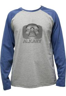 Camiseta Alkary Raglan Manga Longa Caveira 3D Mescla E Azul