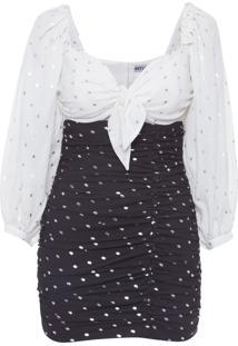 Vestido Mini Poá Drapeado - Preto E Branco