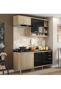 Cozinha Compacta 7 Portas Sicília Com Tampo 5811 Preto/Argila - Multimóveis