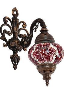 Arandela Turca Mandala Vermelha 35Cm
