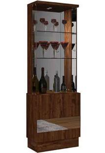 Cristaleira 2 Portas Com Espelho Dj Móveis Rústico Malbec New Vina