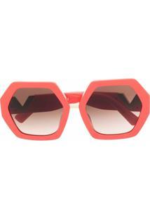 Valentino Eyewear Óculos De Sol Oversized Vlogo - Vermelho