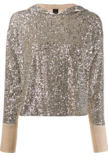 Pinko Suéter Assimétrico Com Paetês - Neutro