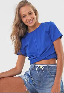 Camiseta Cropped Colcci Torção Azul