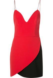 Alice+Olivia Slip Dress Amina Bicolor - Vermelho