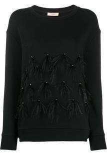Twin-Set Suéter Com Plumas Nas Mangas - Preto