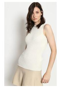 Ponto Aguiar Blusa Tricã´ Gola Alta Off White