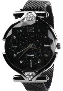 Relógio Magnético Feminino Com Brilho Preto - Kanui