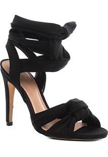 Sandália Shoestock Salto Fino Lace Up Feminina - Feminino-Preto
