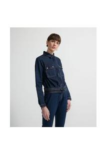 Jaqueta Leve Jeans Com Bolsos Aplicados E Botões De Pressão | Marfinno | Azul | Gg
