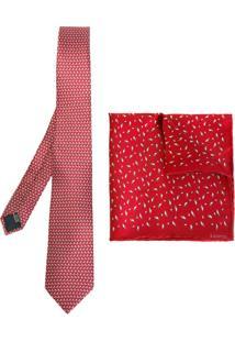 Lanvin Conjunto 2 Peças Com Gravata E Lenço De Bolso - Vermelho