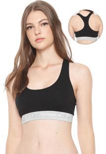 Top Calvin Klein Underwear Logo Preto/Cinza