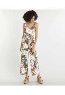 292f2e5cc ... Macacão Feminino Em Linho Estampado Floral Tropical Com Faixa Para  Amarrar Branco
