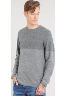 Suéter Masculino Em Tricô Cinza Mescla