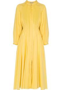 Three Graces Vestido Valerie Com Pregas - Amarelo