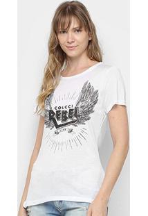 Camiseta Colcci Silk Rebel Feminina - Feminino-Branco
