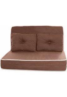 Puff Conforto Casal Marrom Com Travesseiro E Embalagem Em Pvc F.A Colchões