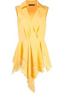 Josie Natori Blusa Assimétrica Com Detalhe De Renda - Amarelo