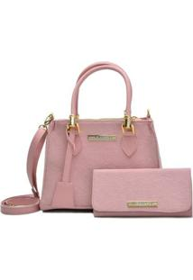 Kit Bolsa E Carteira D&R Shoes Feminina - Feminino-Rosa