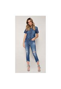 Calça Jeans Express Flare Cropped Sol Azul