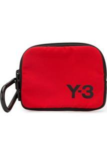 Y-3 Carteira Com Zíper E Estampa De Logo - Vermelho