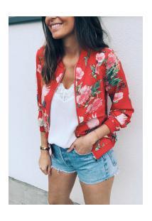 Jaqueta Bomber Bella Floral Feminina - Vermelha