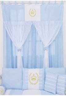 Cortina Para Quarto De Beb㪠Coroa Dourada - Azul - Menino - Dafiti