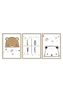 Quadro 40X90Cm Infantil Amor De Urso Moldura Natural Sem Vidro Decorativo