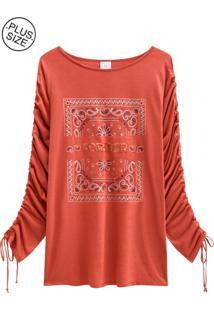 Blusa Lecimar Plus Em Viscose Leve Outono Inverno Vermelho Médio