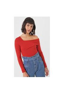 Blusa Colcci Recorte Ombro Vermelha