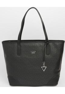 Bolsa Com Bag Charm & Recortes- Preta- 29X32X17Cm